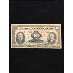 1934 IMPERIAL BANK OF CANADA $10.00 NOTE!