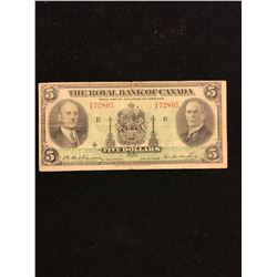 1935 THE ROYAL BANK OF CANADA $5.00 NOTE!