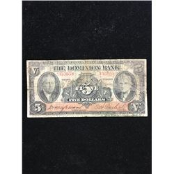 1935 THE DOMINION BANK $5.00 NOTE!