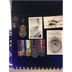 ROYAL CANADIAN NAVY WWII MILITARIA GROUP LOT! MEDALS VINTAGE CAP BADGES AND PHOTOS!