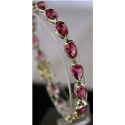 Very Fancy Sterling Silver Lab Pink Sapphire Bracelet. (23B)