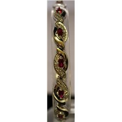 Beautiful Sterling Silver Lab Rubies & White Sapphire Bracelet. (42B)