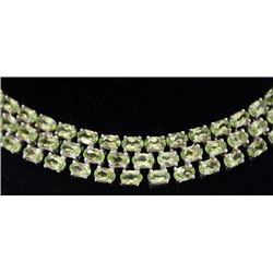 Very Fancy Heavy Sterling Silver All Natural Peridots Bracelet. (150B)