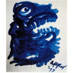 Karel Appel Oil on Paper - Head