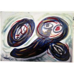 Karel Appel Oil on Paper - Boy Play