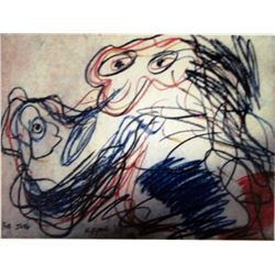 Karel Appel Pastel on Paper - The Dog