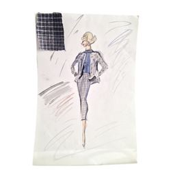 Edith Head Original Costume Sketch