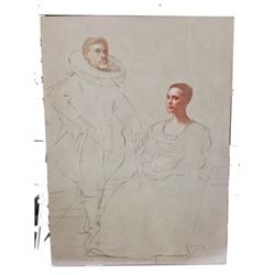 Tulip Fever Cornelis (Christoph Waltz) & Sophia (Alicia Vikander) Stage 1 Painting Movie Props
