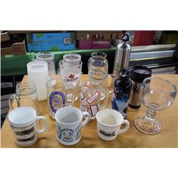 Lot of Assorted Cups, Classes, Mugs, And Water Bottles