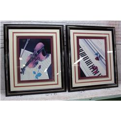 "Pair of Framed Music Related Hanging Photos (23"" x ""27.5"""