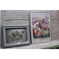 "Floral Related Hanging Art Pieces (18"" x 25"" And 19"" x ""14.5"")"