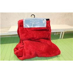 Soft Red Micro Velour Throw Blanket