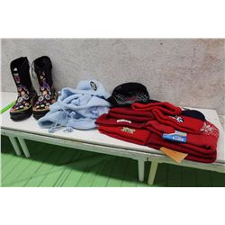 Lot of Kids Tuques With Pair of Kids Boots