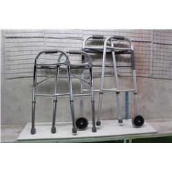Pair of Collapsible Walkers (One With Wheels, One Without)