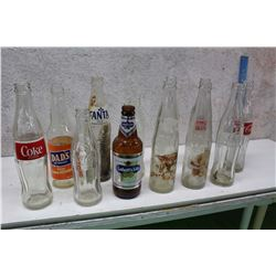 Lot of Assorted Glass Bottles (12)(Coke, Fanta, Labatt's Lite, Dad's Orange Soda Etc; )