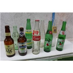 Lot of Assorted Glass Bottles (9)(Coke, Fresca, Labatt's Lite,7-Up Etc;)
