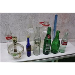 Lot of Glass Bottles (9)(Coke, Liqour, Pick-A-Pop, Others)