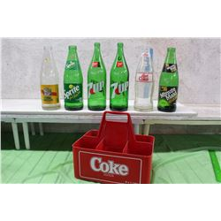 Assorted 1 Liter Glass Bottles (6)(Coke, Minute Maid, Sprite, 7-Up, Others)