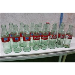 Lot of Collectible Limited Time Run Coke Bottles With Regular Bottles (15)