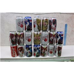 Lot of Don Cherry, Hockey Themed Cans (Coke, Pepsi, Molson)(19)