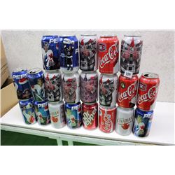 Lot of Don Cherry, Hockey Themed Cans (Coke, Pepsi, Molson)(21)