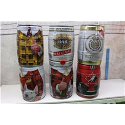 Assorted Bubba Cans (6) (Don Cherry, Team Canada, Dab, Warsteiner)