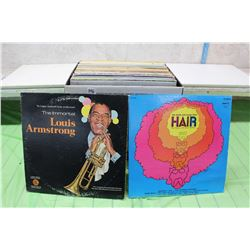 Box of Misc Records (Louis Armstrong, Hair, etc;)