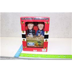 Genuine Hand Crafted Black Hawk Broadcaster Bobble Heads