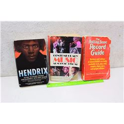Lot of Music Related Books (Hendrix, Contemporary Music Almanac 1980-81, The Rolling Stone Record Gu