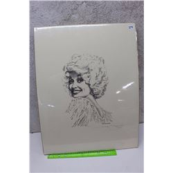 Dolly Parton, Gatewood Pencil Sketch On Canvas