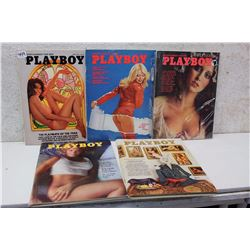 Lot of Playboy Magazines (5)(Various Dates 1975)
