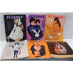 Lot of Playboy Magazines (6)(Various Dates 1970-64)