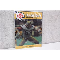 CFL Game Day Program Winnipeg vs. Saskatchewan (1990)