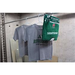 Lot of Small Saskatchewan Rough Rider Tshirts, New With Tags with Towel.