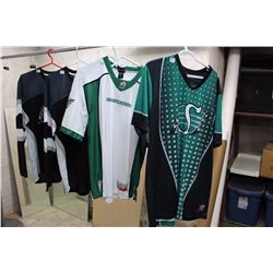 Lot of Saskatchewan Rough Rider Shirts, Jerseys, New With Tags