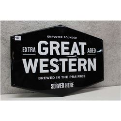 Metal Great Western Beer Sign