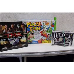 Lot of Games (Mouse Trap, Bicycle Poker Set, TNA DVD Board Game)