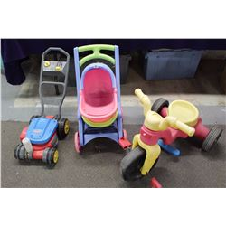 Lot of Children's Outdoor Toys (Lawnmower Bubble Maker, Tricycle, Baby Carriage)