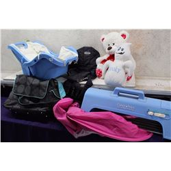 Lot of Baby Carriers (Bag, Floaty, Port-A-Swing, Stuffed Bear & Ghost)