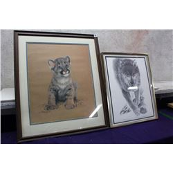 "Lot of Framed Drawings (Cat 22""x26"")(Wolf 16""x20"")"