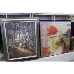 "Framed Flower Paintings (Grey Frame 28""x35"")(Thin Frame 30""x30"")"