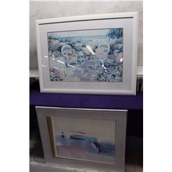 "Framed Abstract Painting (36""x30"") & Framed Floral Painting (43""x33"")"