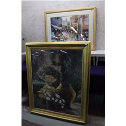 "Framed Flower Decoration Painting (40""x48"") & Framed Painting ""After The Rain"" (37""x30"")"
