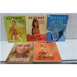 Lot of Playboy Magazines (5)(Various Dates 1963-70)