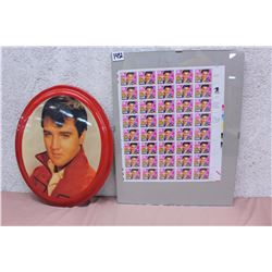 Lot of Elvis Stamps(40) & Elvis Oval Picture