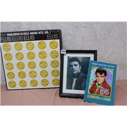 Lot of Elvis Items (Framed Photo of Elvis, Mini Magazine & Worldwide 50 Gold Award Hits, Vol.1 LP Re