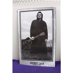 "Johnny Cash Picture with Wooden-Backing (22""x34"")"
