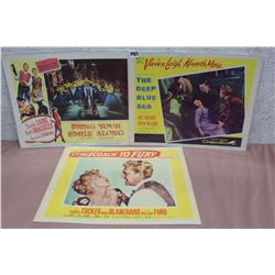 Movie Original Lobby Cards (3) (Bring Your Smile Along, The Deep Blue Sea, Stagecoach To Fury)
