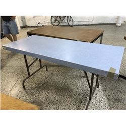 Blue Wood Folding Table