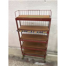Red Metal Framed Store Display Shelf